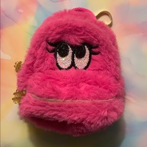 Bath & Body Works Pink Fuzzy Backpack Keychain